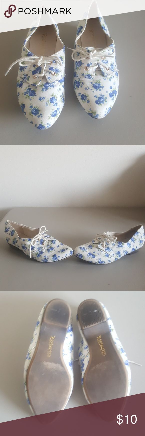 Floral Print Shoes Size 6.5M Cute floral print shoes by Restricted size 6.5M Restricted Shoes Flats & Loafers