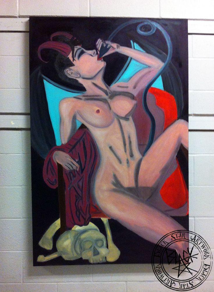 """Man Eater""   60"" x 35.5""   Oil on canvas   Black Star Artwork by Leonard Walsh  www.facebook.com/BlackStarArtwork http://bit.ly/1bCN2xI"