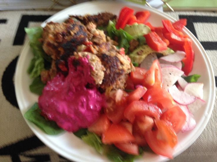 Chelsea Winter's lamb burgers with beetroot relish (without the bun). Made with gluten free bread crumbs.