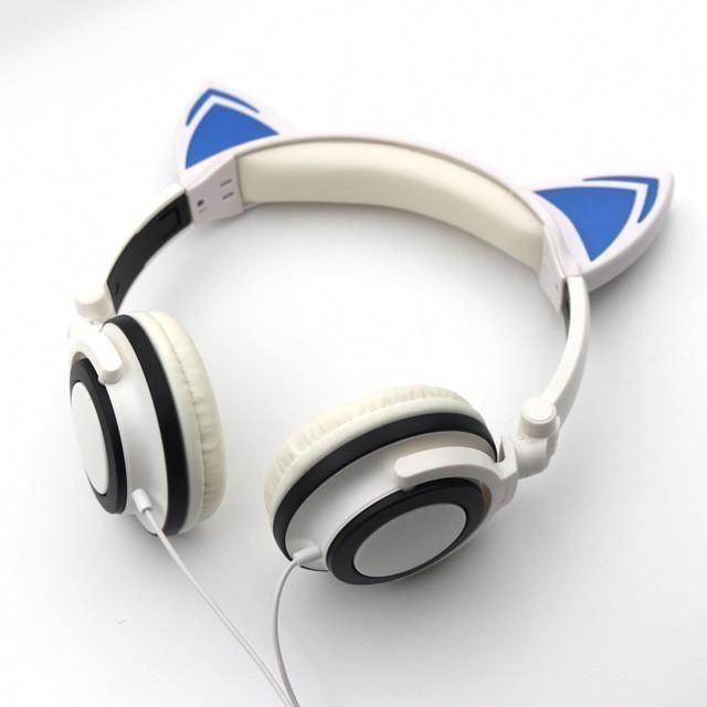 Teamyo Glowing Cartoon Cat Ear Headphones Kid Gaming Headset Auriculares Stereo Music Hifi Headphone For Iphone An Headphones Cat Ear Headphones Gaming Headset