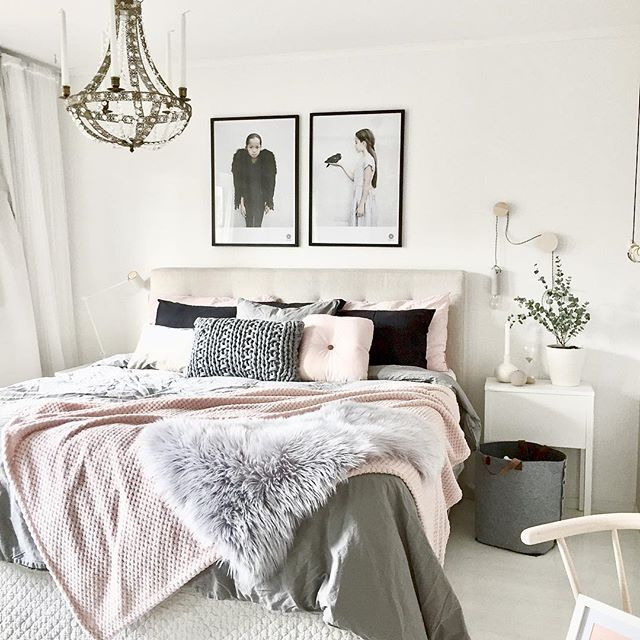 White, Black And Blush Bedroom