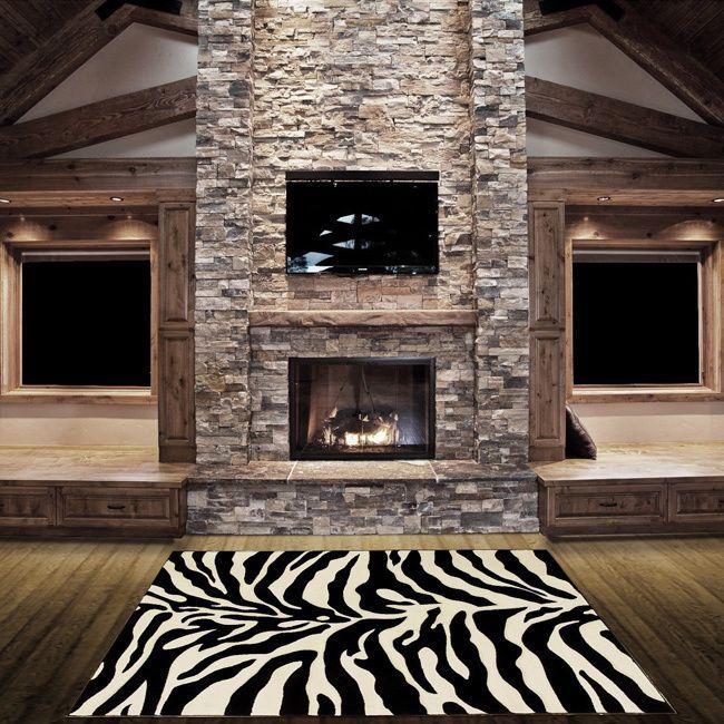 lyke home handcarved zebra skin animal print area rug 5u0027 x 7u0027 stone fireplace stone white