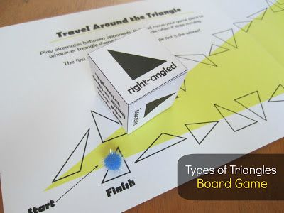 Types of Triangles board game. Kids will love playing this geometry game! Grab the free printable cheat sheet, die template, and game board at Relentlessly Fun, Deceptively Educational.