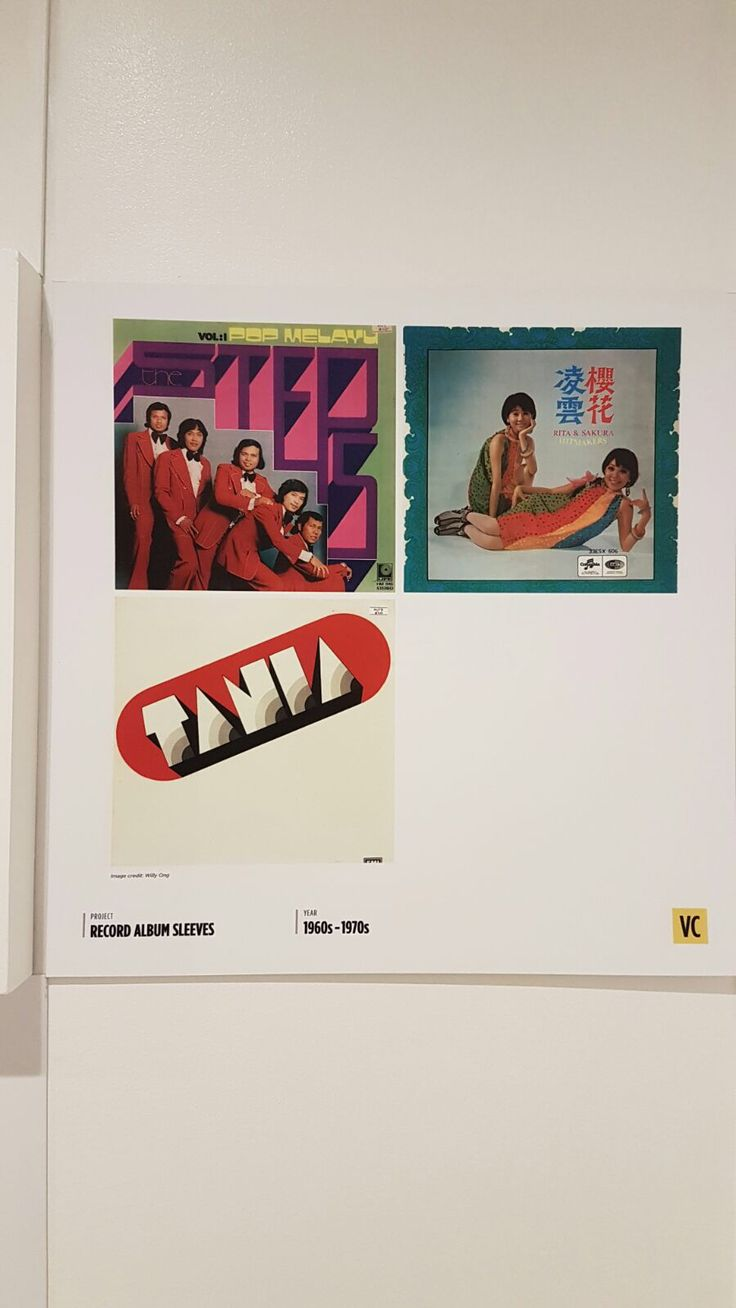 These are album covers from the 1960-1970s.   The first album uses balance as half of the album cover shows the members of the band while the other half shows the name of the band.   The second album's cover uses the principle of balance. Balance is shown as the two members are evenly distributed through the album's cover.   The third uses dominance, contrast and white space. Dominace as the album name is large while contrast is used as the white background is contrasted with the red design.