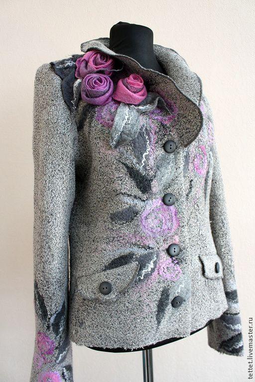 """Купить """"Плетистые розы"""" жакет - серый, лен, пиджак, пиджак женский, жакет женский, жакет"""