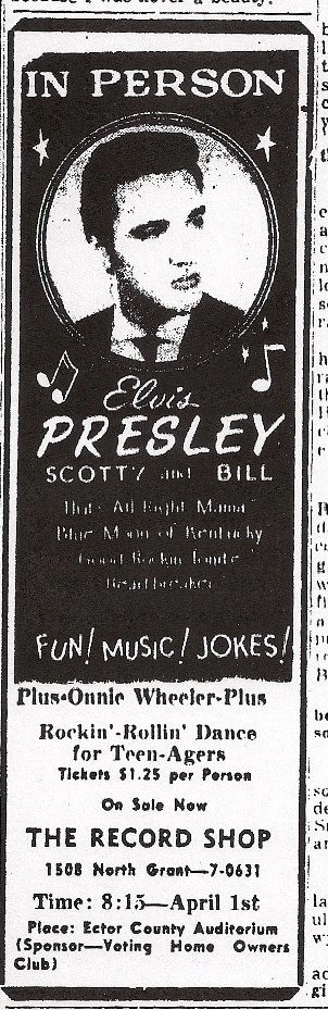 1955 elvis presley performs at the ector county auditorium in odessa texas