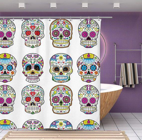 Sugar Skull Shower Curtain Mexican Skull Decor 70 Quot X 70 Quot Sugar Skull Ba Bathroom Art Decor Powder Room Decor