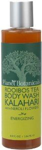 Planet Botanicals Rooibos Tea Body Wash, Kalahari with Neroli Flowers, 8 Fluid Ounce by Planet Botanicals. $16.00. 100% natural 99% organic ingredients. Infused with energizing organic bitter orange and neroli flower essential oil made by an artisan distiller in egypt. Kalahari melon fruit oil from namibia is a light absorbent oil rich in antioxidants and omega 6 and9 fatty acids that deeply condition the skin. A refreshing and gentle organic body wash with nourishing olive and ...
