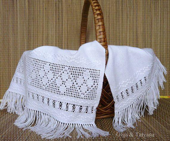 Handmade embroidery raditional Ukrainian white napkin rushnyk.