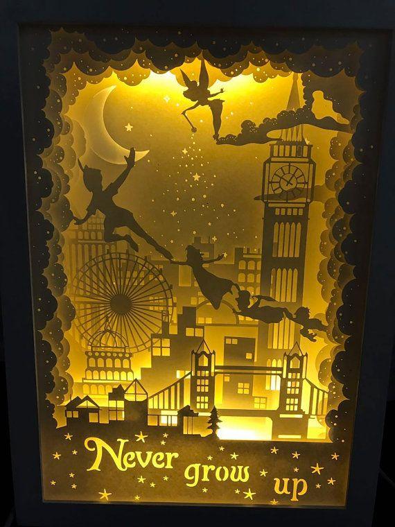 Silhouette Peter pan paper cut Light box Night light by trysogodar