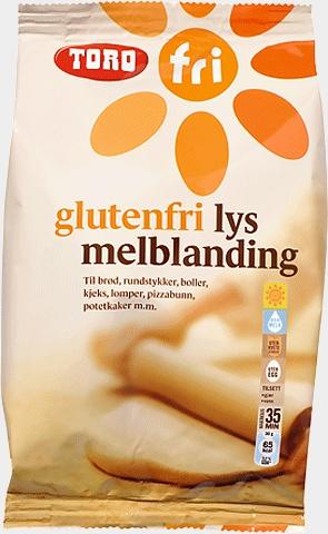 Glutenfri lys melblanding  TORO Glutenfri lys melblanding    uten hvetestivelse, egg & melk     Til brød, rundstykker, boller, kjeks, lomper, pizzabunn, potetkaker m.m.      SOL  VISSTE DU AT?  Råvarene i denne posen er tørket. Det gir naturlig lang holdbarhet, uten  bruk av konserveringsmidler. Næringsstoffene og alle de gode smakene blir  bevart.   Proteininnholdet i glutenfritt lyst brød blir doblet dersom du bruker melk  i stedet for vann ved tilberedning.