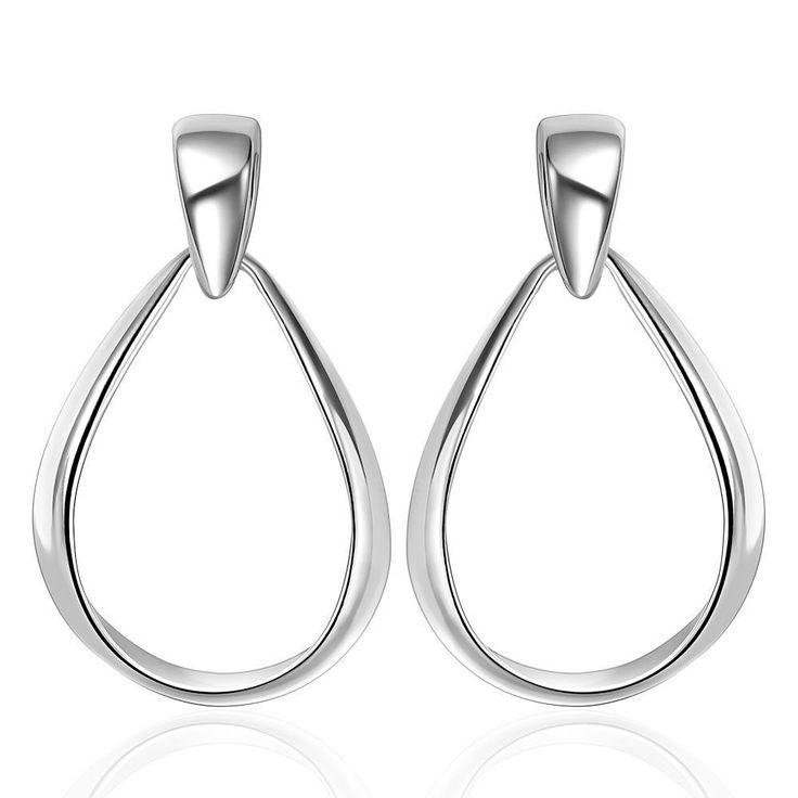 Euramerican Silver Color Large Oval Concise Stud Earrings,Trendy Women Jewelry Wanita Cantik Bijoux Perhiasan,New Year Gift
