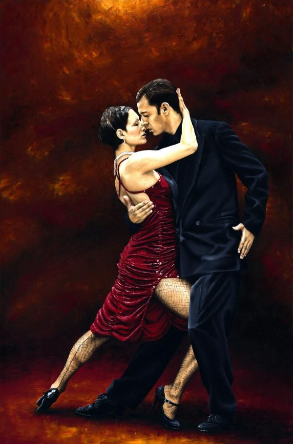 Embraced in the sensuality and passion of their dance, aware only of each other, the dancers enjoy That Tango Moment...  Painted entirely with a knife. A high level of contrast is provided and the colours made extremely rich, bold and lustrous, thus creating a very contemporary feel overall.
