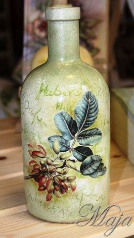 Bottle with decoupage~Μπουκάλι με decoupage