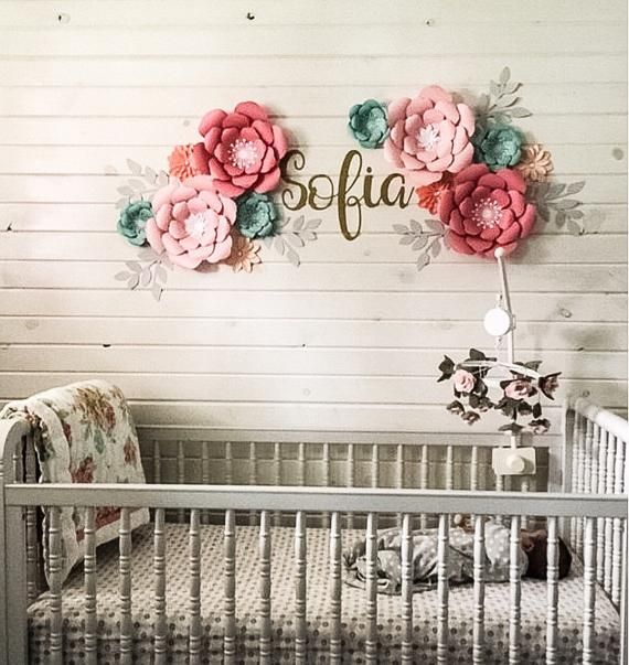 Nursery Name Sign Paper Flowers Nursery Decor Wall Art Paper