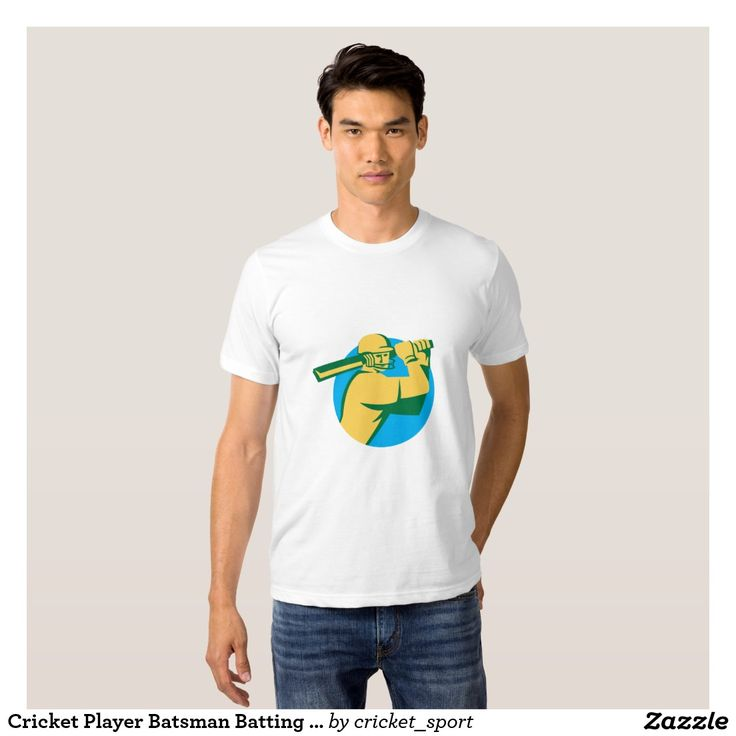 Cricket Player Batsman Batting Circle Retro Shirt. Cricket World Cup men's t-shirt with an illustration of a cricket player batsman with bat batting set inside circle done in retro style on isolated background. #cricket #cricketworldcup #t20worldcup #worldtwenty20 #t20worldcup2016
