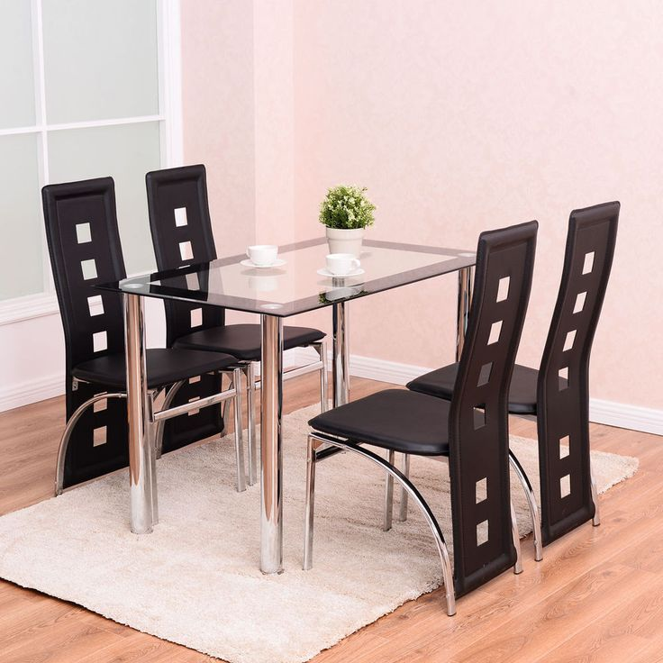 Glass Dining Table Set 5 Piece Kitchen Home Furniture High Back Chairs Modern  #DiningTableSets #Modern