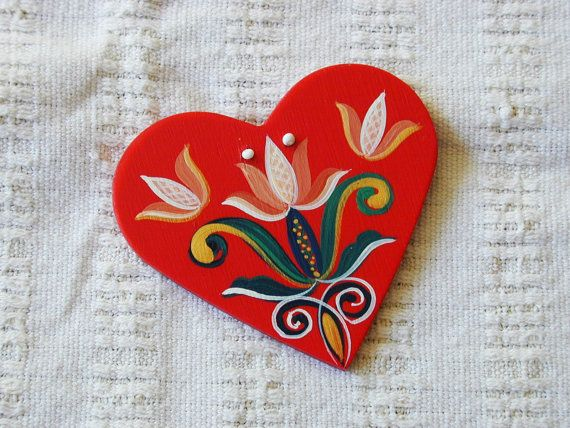 Tulip Tally - Series 01 - red, handpainted wood laminate heart inspired by traditional, historic Transylvanian style