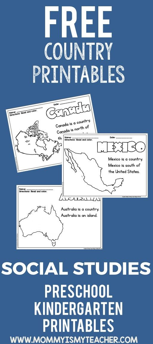 These free kindergarten and preschool country printables for Social Studies are …