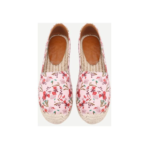 SheIn(sheinside) Calico Print Cap Toe Espadrilles ($33) ❤ liked on Polyvore featuring shoes, sandals, floral flat shoes, pink sandals, pink espadrilles, multi color sandals and pink flats