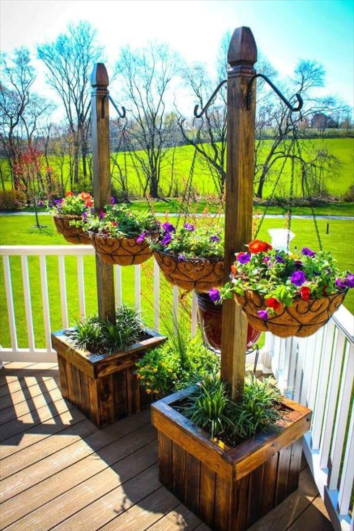 Pallet Planter Stands with Hanging Planter Baskets – 30 DIY Pallet Ideas for Your Home | 101 Pallet Ideas – Part 3