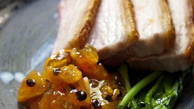 Slow-cooked pork belly with spiced cumquat chutney (Recipe by Justin North)