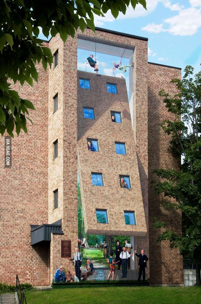 Optical illusion mural in Sherbrooke