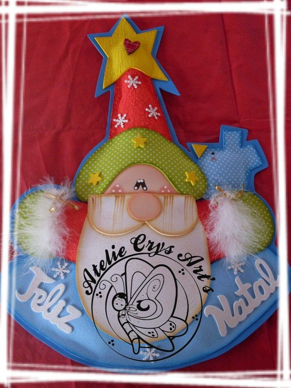 Adorno papa noel feliz navidad foamy goma eva - Manualidades de navidad con goma eva ...