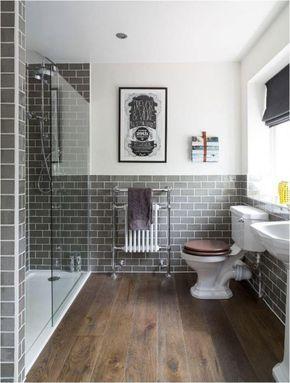 carrelage imitation bois, salle de bain déco vintage