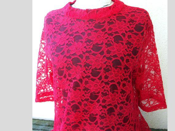 Tunika aus rotem Spitzenstoff  portofreie Lieferung von Sidonie0604