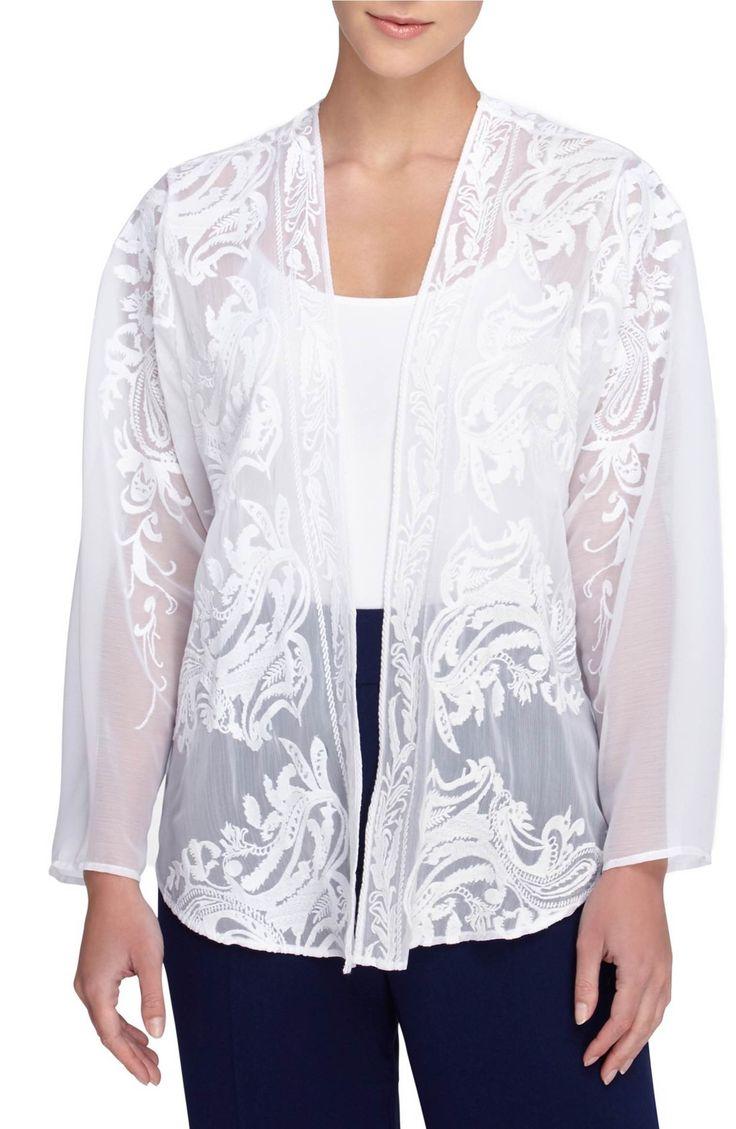 Main Image - Catherine Catherine Malandrino Embroidered Chiffon Jacket