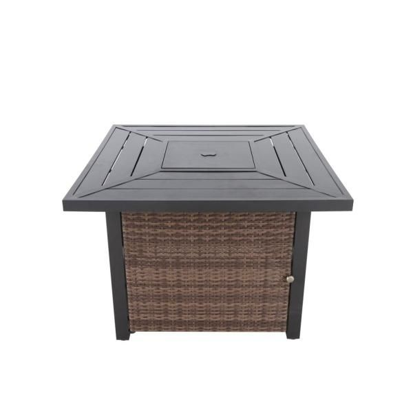 Hampton Bay Beacon Park 36 In Square Steel Lpg Fire Table With Wicker Base Fhws80004a The Home Depot In 2020 Fire Table Gas Fire Pit Table Beacon Park