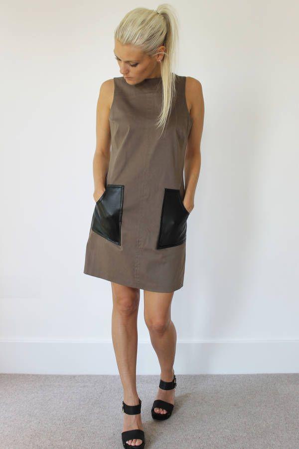 Khaki Dress With Leather Patch Pockets
