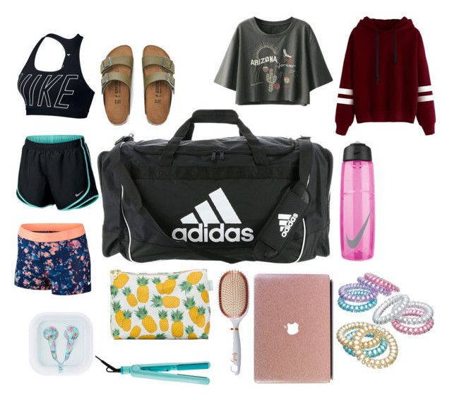 """""""What is in my dance bag"""" by skylar126 on Polyvore featuring adidas, Rosa & Clara Designs, Izutech, Goody, Birkenstock, NIKE and Mudd"""