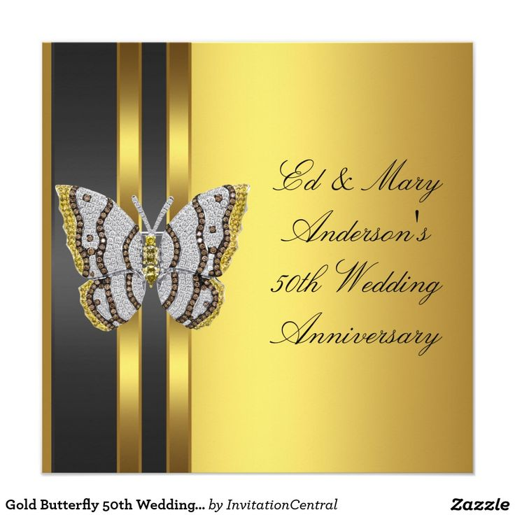 Gold Butterfly 50th Wedding Anniversary Party Invitation