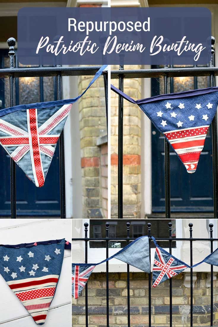 How To Make Festive Upcycled Denim Bunting Patriotic Patriotic