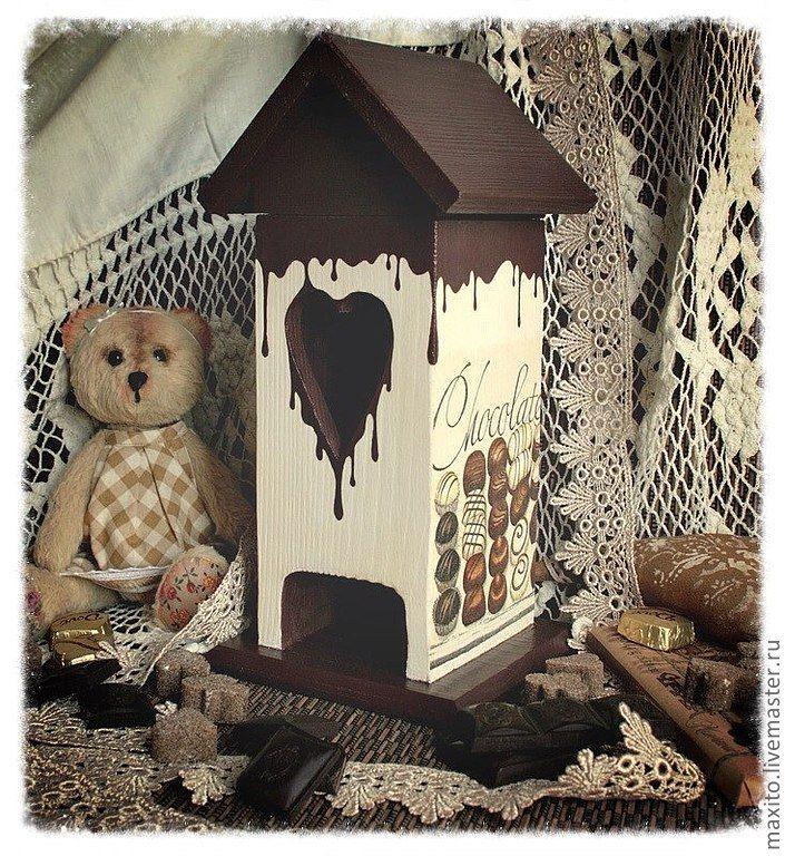 """Купить чайный домик """"Шоколадные реки"""" - коричневый, чайный домик, чайный домик декупаж"""
