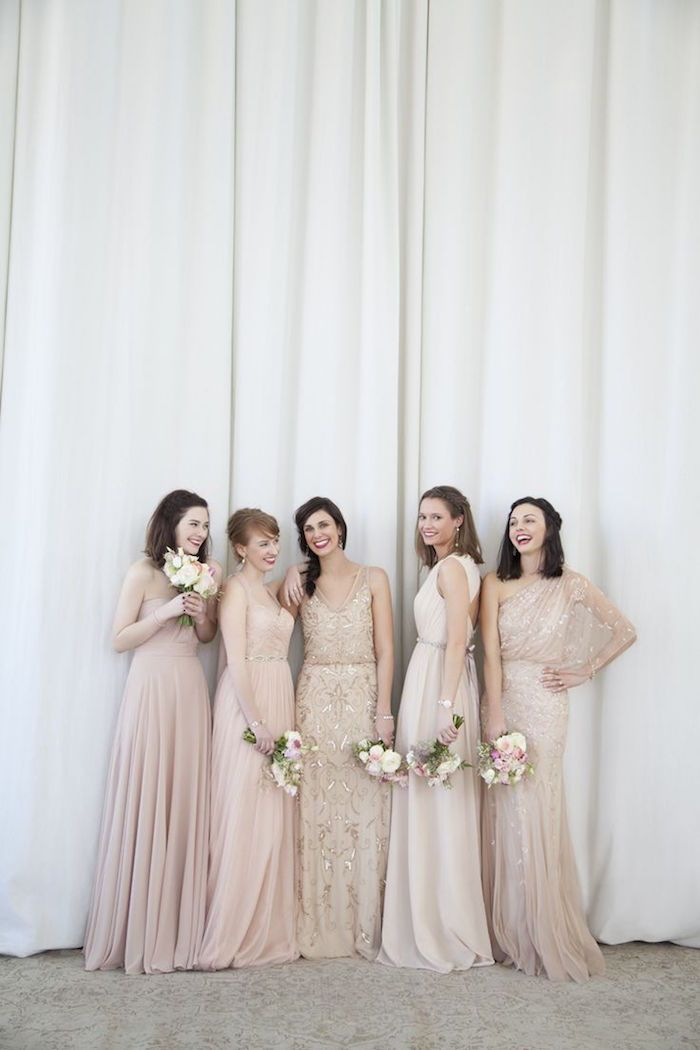 Pink and nude bridesmaids dresses. Dress: BHLDN