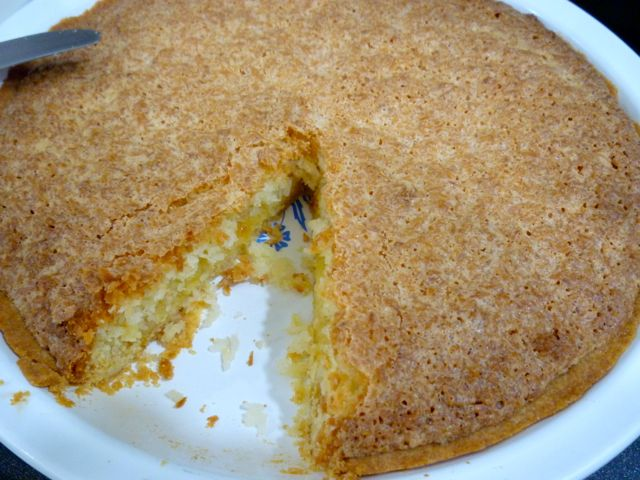 "A typical South African Coconut tart - also known as a ""Klappertert""."