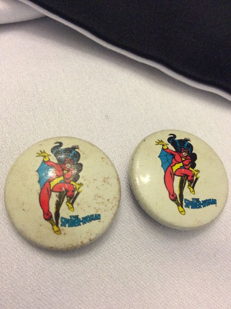 Marvel Comics Spider Woman 1978 Pin Back Buttons (2qty) Bronze Age Spider Woman  | eBay