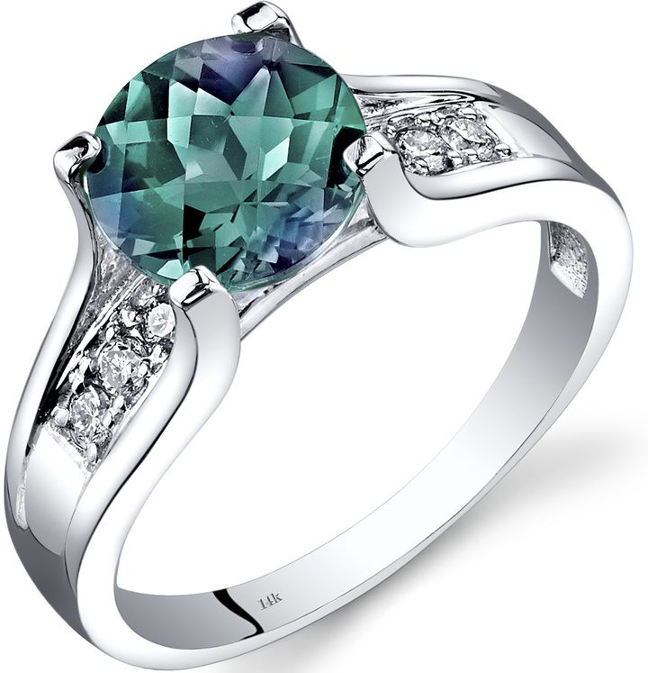 Ice 2 3/8 CT TW Lab-Created Alexandrite 14K White Gold Fashion Ring with Diamond Acccents