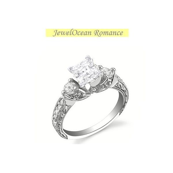 1 carat princess cut diamond antique engagement ring on 10k white gold - Affordable Diamond Wedding Rings
