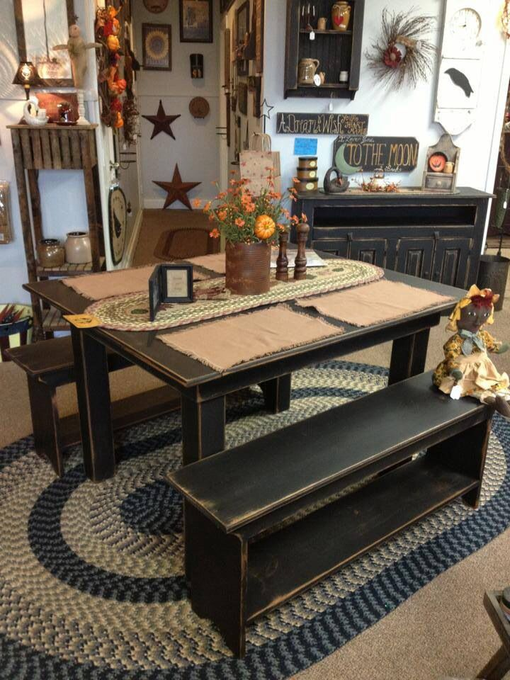 Country table and benches.  Liked the worn edges for patina