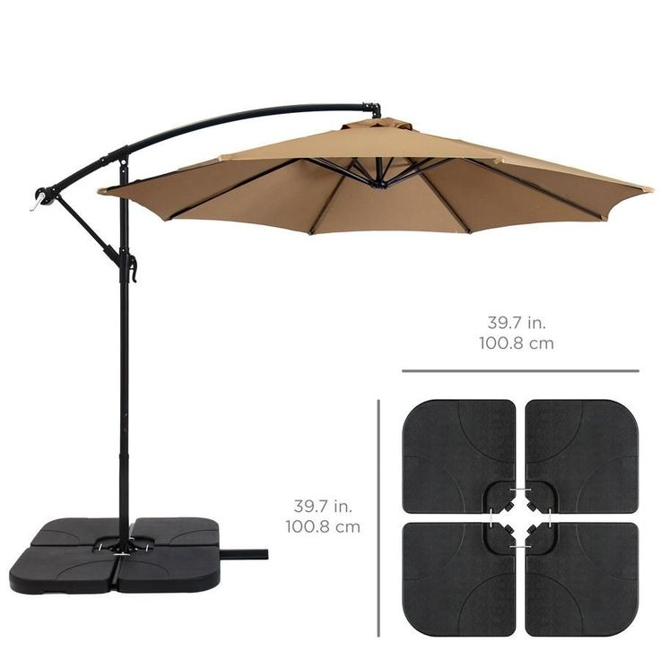 4 Piece Cantilever Offset Patio Umbrella Stand Square Base Plate Set Black Outdoorumbrellastand In 2020 Patio Umbrella Stand Outdoor Umbrella Stand Patio Umbrella