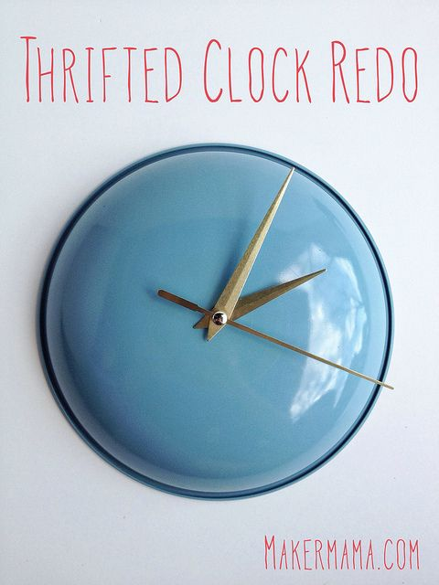 I would so do this! :) DIY thrifted clock redo, you take apart an old clock and using a pot top that you wanted to throw away, you do over the clock on the pot top :D Dinner time! :)