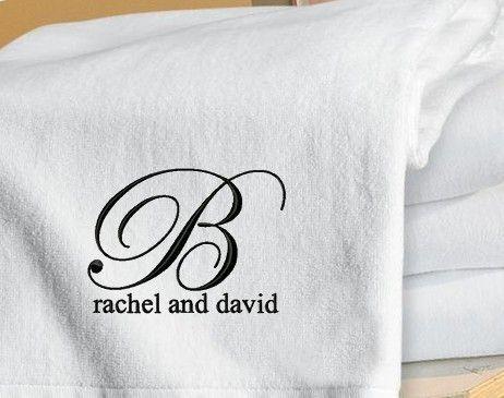 Set Of 2 Monogrammed Beach Towels Honeymoon Wedding Gift