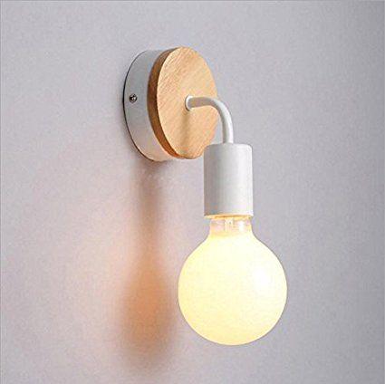 Im modernen skandinavischen Persönlichkeit kreativ Holz Wandleuchte Eisen Lampe am Bett, WC, Flur und energiesparende Lampe 90*100*150 (mm), weiß