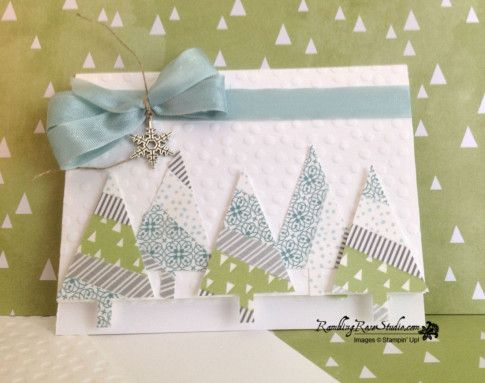 Stampin' Up! ... Handmade card: Washi Tape Christmas Trees ... from  Rambling Rose Studio by Billie Moan ... like the icy look and dotty embossing folder texture on the background ... punched triangle trees in a grouping with some trunks hanging down from the bottom edge ... clever placement!