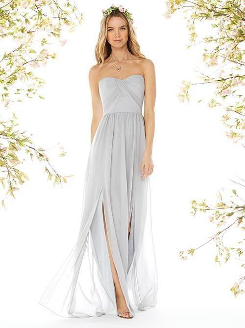 Balletts Bridal - 22657 - Bridesmaids by Dessy - Dessy BM 8159 - full length strapless sweetheart neckline draped bodice shirred skirt with slits front