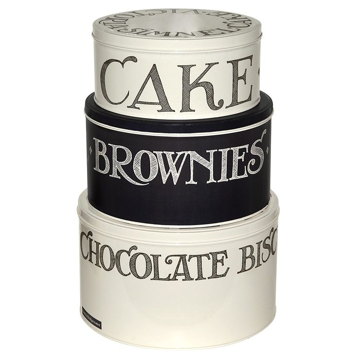 Emma Bridgewater Black Toast Hatched set 3 Cake Storage Tins